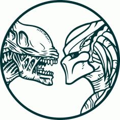 Vector Alien vs predator wall decals Free CDR Vectors Art