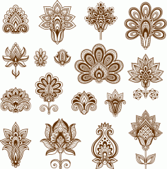 Henna Set of ornamental stylized flower Free CDR Vectors Art