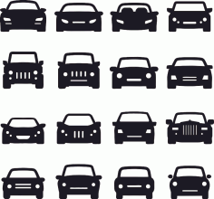 Car Silhouette Front Free CDR Vectors Art