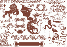 Vector Heraldic Elements Free CDR Vectors Art