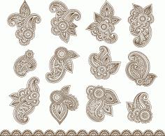 Henna Mehndi Paisley Flowers Free CDR Vectors Art