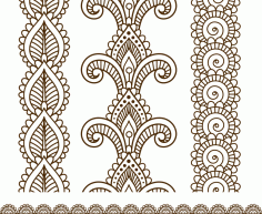 Indian, Mehndi Henna line lace Free CDR Vectors Art