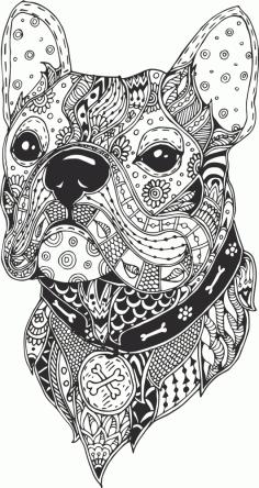 Dog Head Line Drawing Free CDR Vectors Art