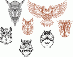 Owl designs collection Free CDR Vectors Art