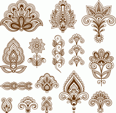 Mehndi design collection Free CDR Vectors Art