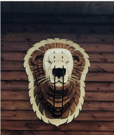 Wooden Trophy Lion Free CDR Vectors Art