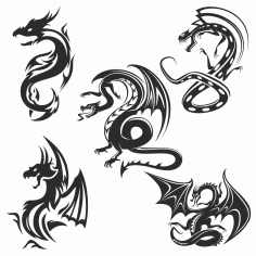 Dragon Tattoo Silhouette Free CDR Vectors Art