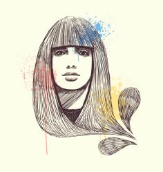 Woman Face Illustration Download Free CDR Vectors Art