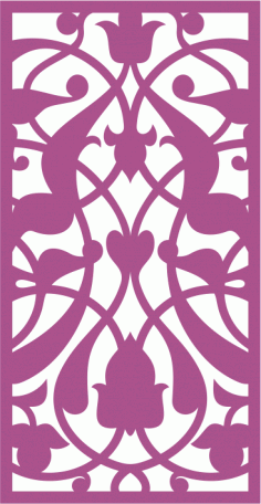 Design of laser cut floral screen Free CDR Vectors Art