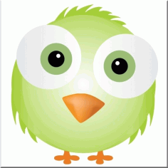 Silly Green Bird Cute Face Free CDR Vectors Art