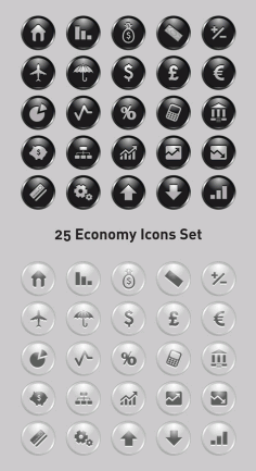 25 Economy Icons Set With Shiny Style Clip Art Free CDR Vectors Art