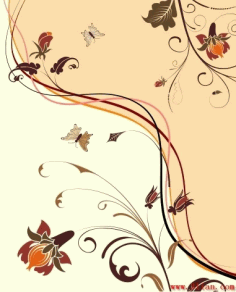 Decorative Background Natural Flowers Theme Classical Design Free CDR Vectors Art