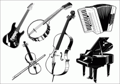 Music Instruments Icons 3d Black White Sketch Free CDR Vectors Art