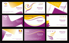 Name Card Templates Abstract Design Yellow Purple Ornament Free CDR Vectors Art