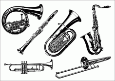 Trumpet Instruments Icons Black White Free CDR Vectors Art