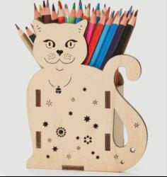 Cat Pencil Holder 3d Puzzle Free CDR Vectors Art