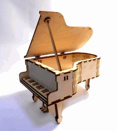 Laser Cut Wooden Piano Free CDR Vectors Art