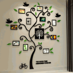 Tree Of Life Black 3D Wall Decal Free CDR Vectors Art
