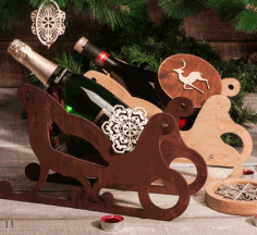 Wooden Sleigh Wine Holder Free CDR Vectors Art