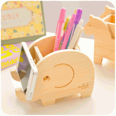 слон Wooden Pencil Holder Free CDR Vectors Art