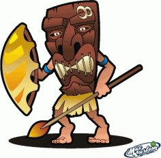 Tiki Warrior Free CDR Vectors Art