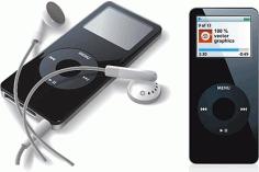 Handy ipod icons realistic black Free CDR Vectors Art