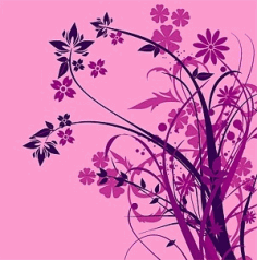 Purple flower silhouette Free CDR Vectors Art