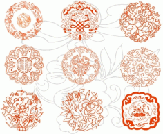 Round auspicious patterns Free CDR Vectors Art