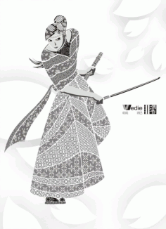 The sakura samurai decorated Free CDR Vectors Art