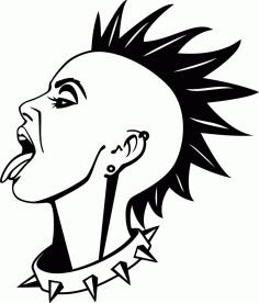 Decorative Punk Girl Vinyl Free CDR Vectors Art