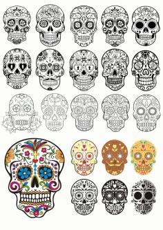 Day Of The Dead Skulls Design Free CDR Vectors Art