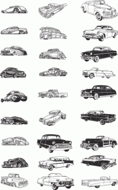 Retro Cars Collection Free CDR Vectors Art