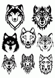 Wolf Face Silhouette Free CDR Vectors Art