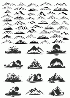 Collection Of Mountains Free CDR Vectors Art