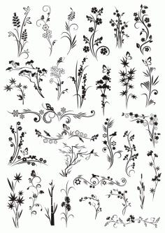 Decorative Element Floral Ornaments Free CDR Vectors Art