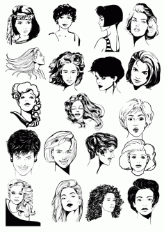 Women Faces  Collection Free CDR Vectors Art