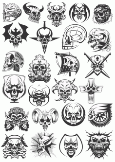 Skull Dead Heads Collection Free CDR Vectors Art