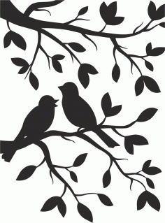 Two Birds Stencil Free CDR Vectors Art