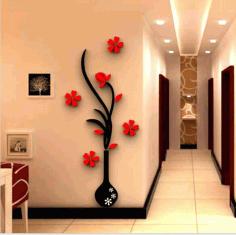 Vase Flower Tree Crystal Acrylic Wall Free CDR Vectors Art