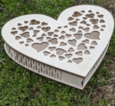 Cute Heart Box File For Laser Cut Free CDR Vectors Art